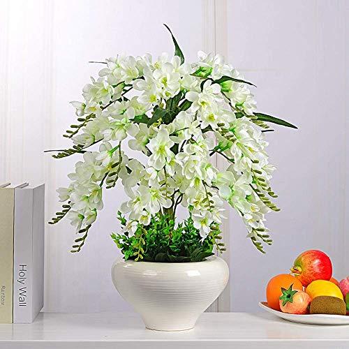 Künstliche Blume Orchidee Im Topf 2 Stück Plastikblumen Und Vasen Keramiktöpfe Heimtextilien Sehr Realistisch (Nr. 1 Farbe)