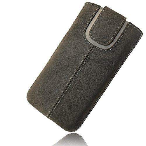 OrLine Handytasche geeignet für BlackBerry Q10. Ledertasche Tasche Echtleder Etui Leder-Hülle (Lasche mit Rückzugfunktion Ausziehhilfe) Schutzhülle Hülle Cover