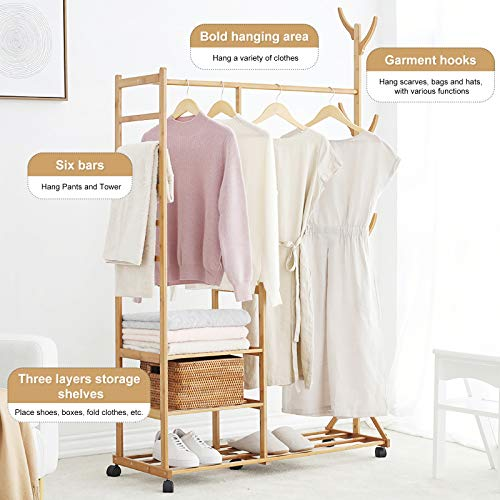 Homde Garment Rack Bamboo Rolling Coat Rack Multifunctional Bedroom Hanging Rack Clothing Organizer Shoe Organizer Hat Tree Storage Shelves with Wheels 3 Layers 6 Hooks