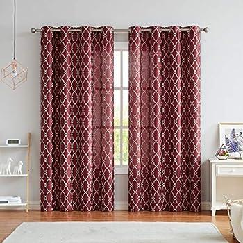 Best burgundy sheer curtains Reviews