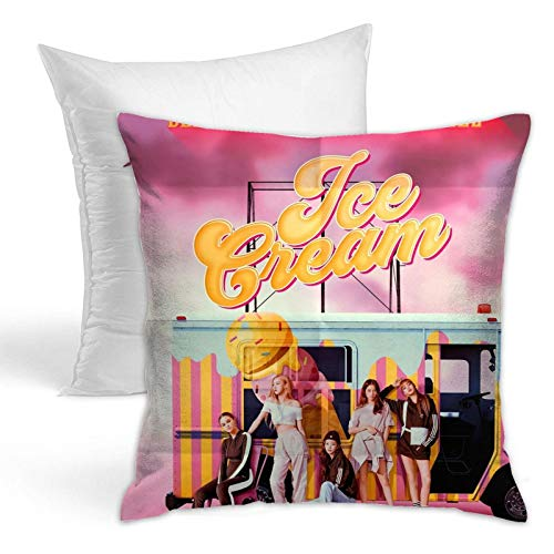 Blackpink Ice-Cream Se-Lena Throw Pillows Fashion Pillowcase Home Decor Hold Pillow for Living Room Couch Bedroom 18x18 Inch