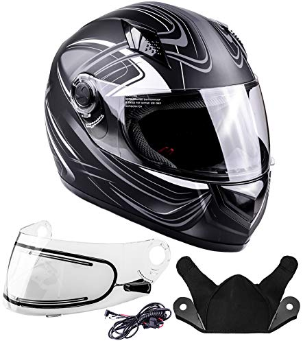 Typhoon Helmets Adult Full Face Snowmobile Helmet With Heated Shield DOT (Grey, Large)