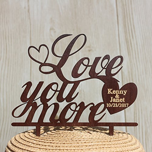 buythrow Love You More Boda Figuras de Madera Personalizado Novia y Novio Nombre y Fecha Madera rústico Boda decoración para Tarta para