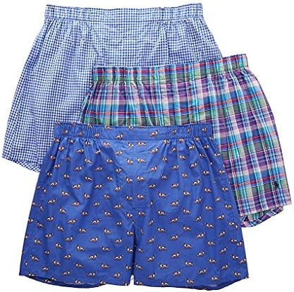 Polo Ralph Lauren Men s 3 Packaged Woven Boxers Indigo Sky Pointer Dog Cedar Plaid Blue Yacht product image