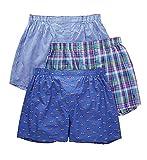 Polo Ralph Lauren Men's 3-Packaged Woven Boxers Indigo Sky Pointer Dog/Cedar Plaid Blue Yacht/Norton Plaid Billiard Green Medium