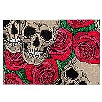 頭蓋骨と赤いバラの花 ジグソーパズル 大人用