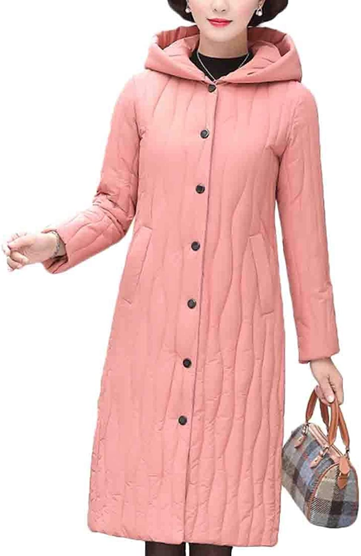 Esast Women's Winter Long Coat Thick Hooded Warm Overcoat Down Jacket