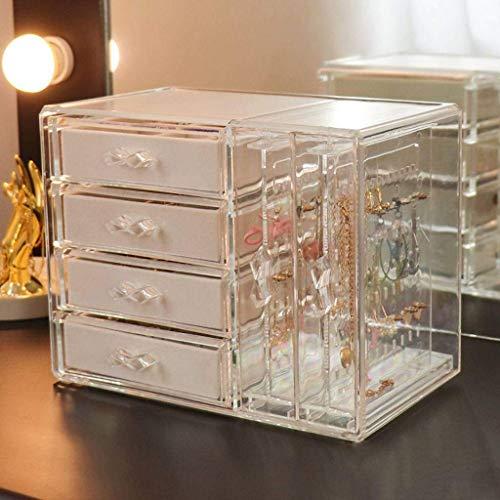 Desktop Storage Box, Cosmetic Storage Box, sieraden opbergdoos stofdicht grote capaciteit doorzichtige plastic for Bedroom-Large-Pink Mooie en praktische cosmetische opbergdoos.