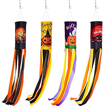 4 Pieces 40 Inch Halloween Pumpkin Ghost Windsock Flag Ghost Windsock Halloween Hanging Decoration Halloween Themed Holiday Windsock for Front Yard Patio Lawn Garden Party Decor