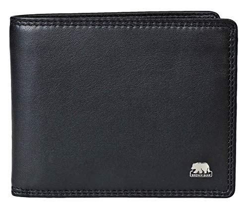 Brown Bear Geldbörse Herren Leder Schwarz RFID-Schutz, Echtleder Männer-Portemonnaie im Querformat mit Doppelnaht, Business Geldbeutel mit 9 Karten-Fächer, Portmonee 12,5 x 9,5 cm