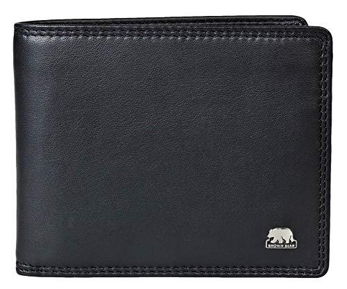 Brown Bear Geldbörse Herren Leder Schwarz Quer-Format RFID Schutz Business Doppelnaht hochwertig Echtleder Männer Portemonnaie Geldbeutel Portmonaise Portmonee Ledergeldbeutel Ledergeldbörse