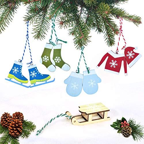 EKKong, ciondolo in legno per albero di Natale 2020, ciondolo in legno, decorazione per albero di Natale, decorazione per albero di Natale (sport invernali, sci, 5 forme, colore blu)