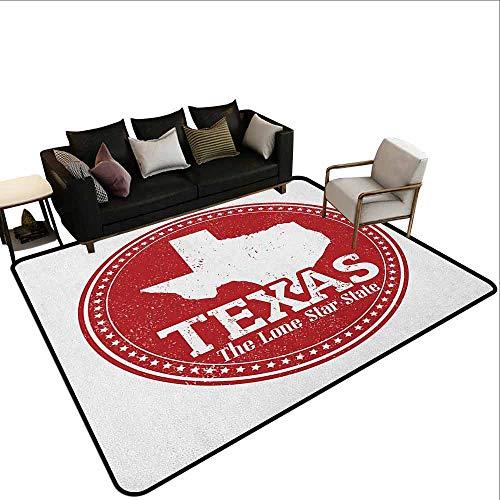 Slaapkamer woonkamer bescherming mat Texas Star,Vintage Stempel Patroon Kaart en de Lone Star State Geschreven in Circular Frame, Robijn en Wit