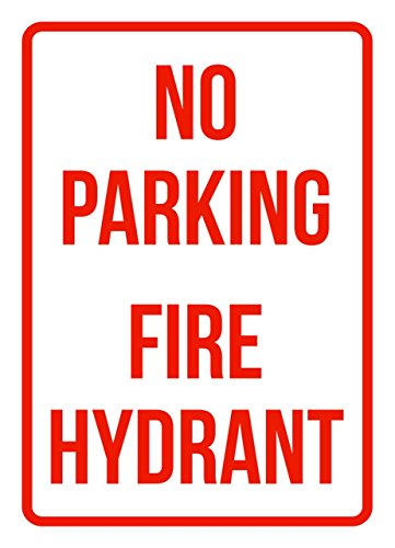iCandy Products Inc No Parking Fire Hydrant Business Safety Traffic Signs Red - 7.5x10.5 - Metal