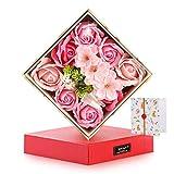 母の日 ソープフラワー 造花ギフトボックス 小物入れとしても利用可能(ハンドタオル付き)誕生日 プレゼント ギフト 最適な贈り物を最愛の母へ