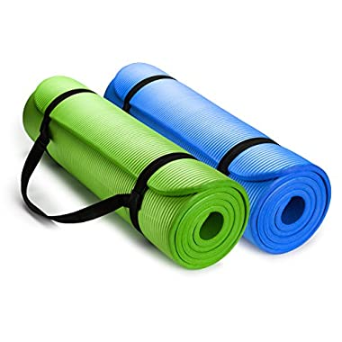 HemingWeigh 1/2-Inch Extra Thick High Density Exercise Yoga Mat with Carrying Strap (2 Pack Combo)