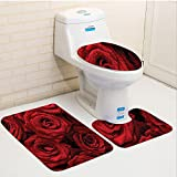 CoolSomeJies Three-Piece Toilet seat pad customRed and Black Romantic Eternal Symbol of Love Red Roses with Rain Drops on Petals Photo Print Ruby