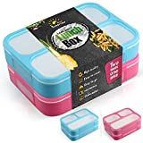 Bento Lunchboxes - 2 Pack - Lunch Containers with 3 Compartments -...