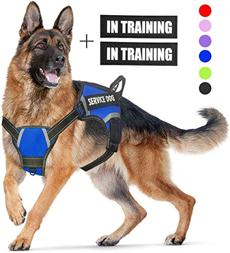 N/C No Pull Service Dog Harness Reflective Adjustable Vest with a Training Handle and 2 Metal Rings, Breathable Oxford Soft Vest Easy Control Front Clip Harness for Small Medium Large Dogs (S,Blue)