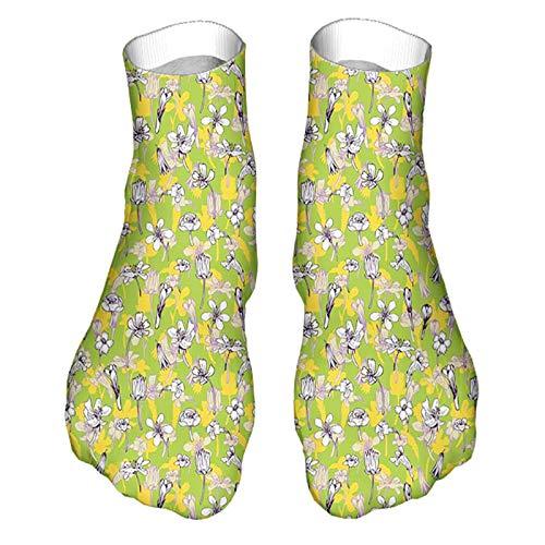 Unisex Divertido Colorido Calcetines Diseño Patrón de Calcetines Patrón de Línea de Dibujo Estilo Hierbas y Flores Botanical