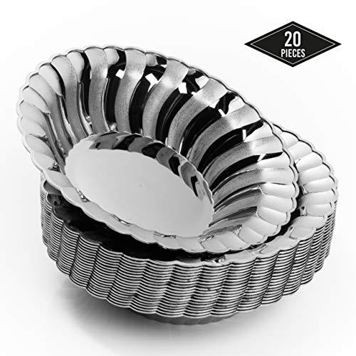 20 Plastik Einweg Schüssel, Elegantes Silber, 18,5 cm | Stabile & Wiederverwendbar| Suppenschüssel Einwegschalen Einweggeschirr| für Geburtstage Partys Hochzeiten Brautduschen Babypartys.