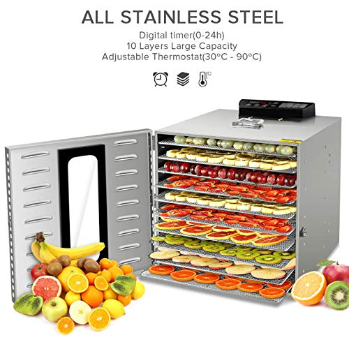 6 Trays Food Dehydrator,Commercial Stainless Steel Dehydrator Raw Food & Jerky Fruit,400W Preserve Food Nutrition Professional Household Vegetable Dryer, with 0~24 Hours Digital Timer (Renewed)
