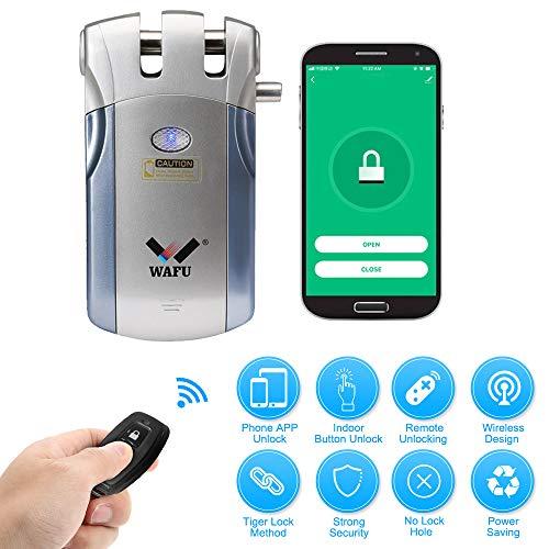 WAFU HF-018W Cerradura Invisible, Cerradura Inteligente WiFi, Cerradura Control Remoto con 4 Controles Remotos, Soporta Desbloqueo de Aplicaciones iOS/Android, Azul + Plata