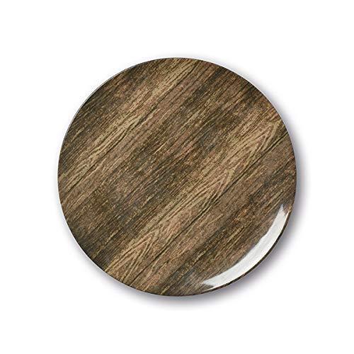 Porzellan Speiseteller in Holz Optik, Thermoteller, dank integrierter Wärme-Technologie behalten ihre Speisen die perfekte Verzehrtemperatur, r& 27cm, 1-teilig, Ebenholz Braun