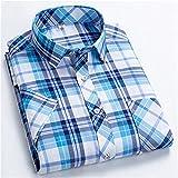 HDDFG Camisas a cuadros para hombres, verano, manga corta, ocio, ajustado, camisa a cuadros, cuello cuadrado, suaves, casuales, para hombre, con bolsillo frontal (Color : Color 2, Size : M code)