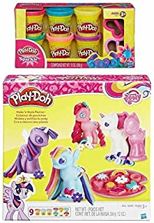 Play-Doh My Little Pony Make 'N Style Ponies Set + Play-Doh Sparkle Compound Bundle
