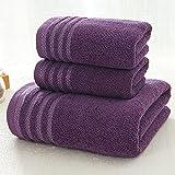 Juego de toallas 3 unids/set Nueva raya toalla de algodón toalla de baño de tres conjuntos de color sólido espesar toallas...