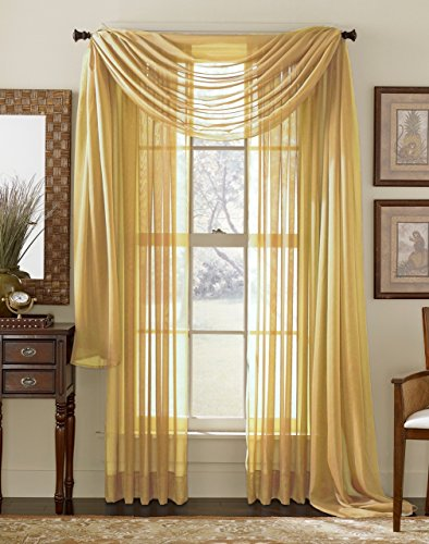 """3 Piece Sheer Panel (2 Pieces 58"""" x 84"""") and Scarf Window (1 Pieces 37"""" x 216"""") Curtain Combo Set (Gold)"""