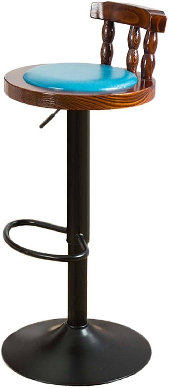 Retro Iron Bar Chair, Restaurant High Chair Wood Backrest Chair Lifting Chair Coffee Shop High Stool Home redating Chair Bar Chairs 60-80cm (color   bluee)