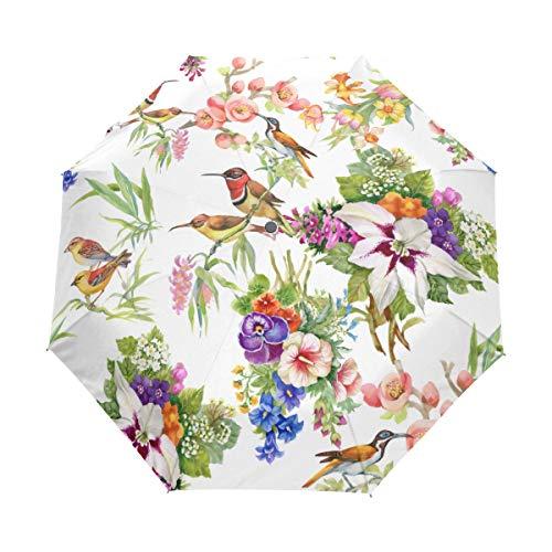 Jeansame Regenschirm, Blumenmuster, Rotkehlchen, Vögel, Vintage, Retro, faltbar, kompakt, für Damen und Herren