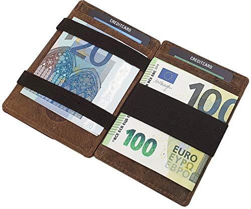 Echt Büffel-Vollleder Magic Wallet Kreditkartenetui und Geldbörse/Geldbeutel/Portemonnaie/Portmonaise/Geldtasche/Portmonee in Einem mit RFID & NFC Schutz in Cognac
