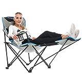 Skandika Relax - Chaise fauteuil de camping avec repose-pieds - Stable et robuste - Poids max. 130 Kg - Gris/Noir