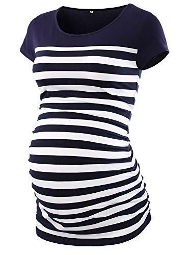 CareGabi Umstandsshirts mit farbigem Blockstreifen, kurzärmelig, gerüscht, für Schwangere - Blau - Groß