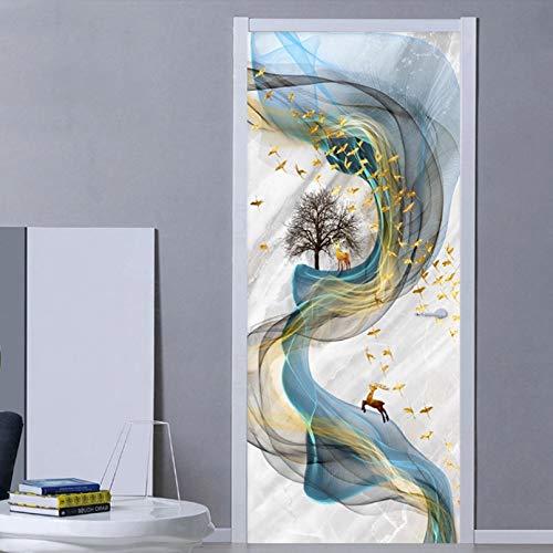 Pegatinas de puerta 3D PVC autoadhesivo impermeable etiqueta de la puerta estéreo línea de arte abstracto mármol papel tapiz sala de estar dormitorio decoración del hogar pasta de puerta-77x200cm