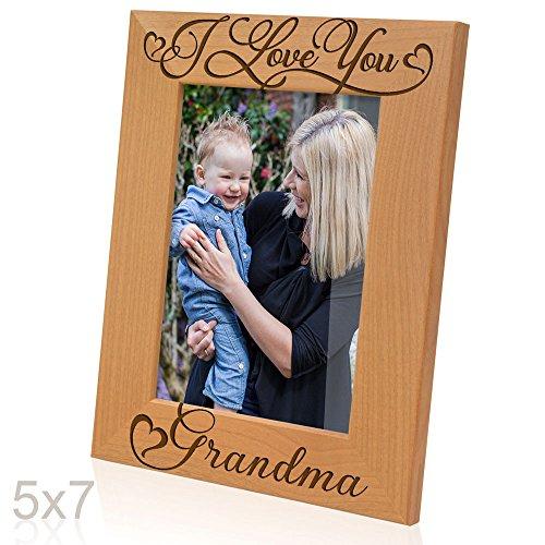 KATE POSH I Love You Grandma, Grandparent's Day, Best Grandma Ever, Grandma & Me, Engraved Natural Wood Picture Frame from Granddaughter, Grandson (5x7-Vertical - Grandma)
