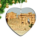 Hqiyaols Ornament El Parque Arqueológico de Cartago Túnez Navidad Adornos Colgantes Decoración Pieza Cerámica Forma Corazón Recuerdo Ciudad Viaje Regalo