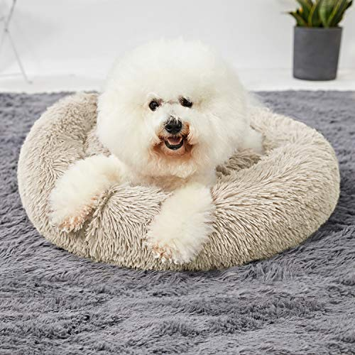 Washable Dog Round Bed Large, Donut Dog Bed Large Dog, Comfy Dog Calming Cuddler Bed