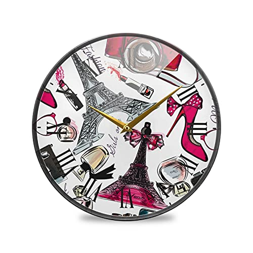 Dibujado A Mano Arte De La Torre Eiffel Arte Reloj de Pared Silencioso Decorativo Relojs para Niños Niñas Cocina Hogar Oficina Escuela Decoración