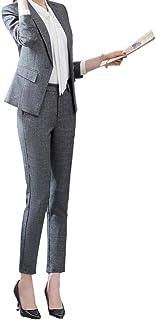 GESCHESK レディース パンツスーツ 上下セット 2点セット スーツ セットスーツ セットアップ ジャケット パンツ 長袖 エレガント OL オフィス 就活 ビジネス 通勤 リクルート 事務服 洗える