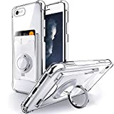 Shields Up Designed for iPhone 6 Plus/ 6S Plus Case, Minimalist Wallet Case with Card Holder and Ring Kickstand/Stand, [Drop Protection] Slim Protective Cover for Apple iPhone 6S Plus/6 Plus - Clear