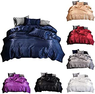 ZOUJIN 3 in 1 Satin Soft Silk Solid Quilt Cover Set with Zipper 100% Quality Cool Feeling Single/Queen/King Size (Color : ...