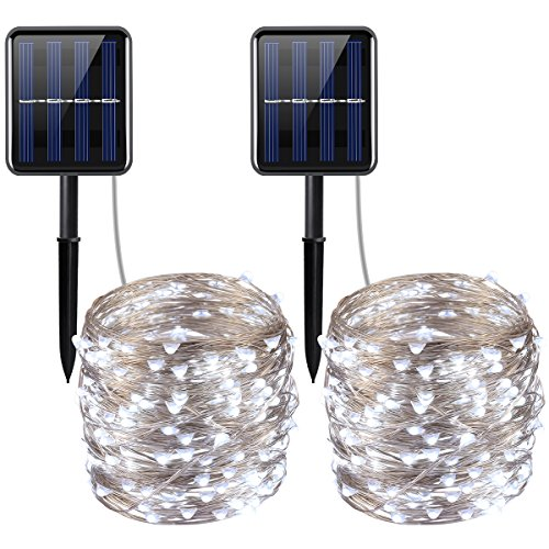 AMIR Upgraded Solar String Lights, 200 LED Copper Wire Lights, 72ft 8 Modes Starry Lights, Waterproof IP65 Fairy Christmas Decorative Lights for Outdoor, Wedding, Home, Party (White - Pack of 2)
