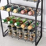 L.TSN Estante de Almacenamiento de condimentos de Cocina de Cuatro Niveles Negro Organizador de mostrador Estante de Especias para frascos de condimentos, frascos de Especias Botellas de Salsa KJZ