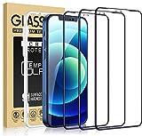 Cocoda 3 Piezas Protector Pantalla Compatible con iPhone 12 y 12 Pro con Marco Instalación Fácil, Dureza 9H, Sin Burbujas, Cobertura Completa Cristal HD Templado-6,1 Pulgadas