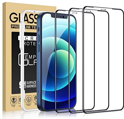 Cocoda Panzerglas Kompatibel mit iPhone 12/12 Pro, 3 Stück, Einfache Montage Rahmen, Härtegrad 9H, Blasenfrei, 6.1 Zoll, HD klar Panzerglasfolie Displayschutzfolie