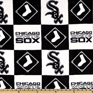 Fabric Traditions MLB Fleece Chicago Sox Blocks Fabric by The Yard, Black/White
